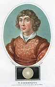 Nicolas Copernicus (1473-1543) Polish astronomer. In 1543 he published 'De revolutionibus orbium coelestium' in which he put forward proof of a Heliocentric (sun- centred) universe. Coloured stipple engraving published London 1802.