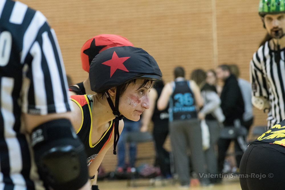 Madrid, Spain. 17th January, 2018. Face of the jammer of Baywitch Project Nice Roller Derby, #11 Saxy Monster, during the game against Roller Derby Madrid B held in Madrid. © Valentin Sama-Rojo
