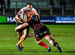 Cheetahs' Niel Marais is tackled by Dragons' Aaron Wainwright<br /> <br /> Photographer Craig Thomas/Replay Images<br /> <br /> Guinness PRO14 Round 18 - Dragons v Cheetahs - Friday 23rd March 2018 - Rodney Parade - Newport<br /> <br /> World Copyright © Replay Images . All rights reserved. info@replayimages.co.uk - http://replayimages.co.uk