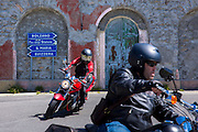 Motorcyclist on Harley Davidson motorbike (front) Suzuki (behind) on The Stelvio Pass, Passo dello Stelvio, Stilfser Joch, Italy