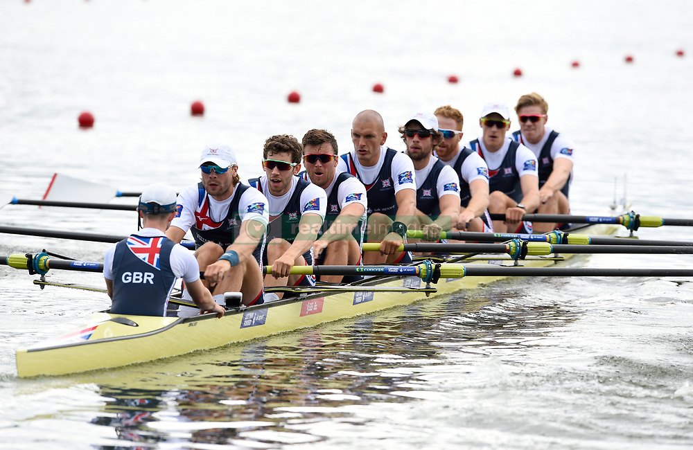 Great Britain's George Thomas, Tom Jeffery, William Satch, Tom Ransley, Mohamed Sbihi, Alan Sinclair, Matthew Tarrant, Oliver Wynne-Griffith and Henry Fieldman compete in the Men's Eight Repechage 1 during day two of the 2018 European Championships at the Strathclyde Country Park, North Lanarkshire.