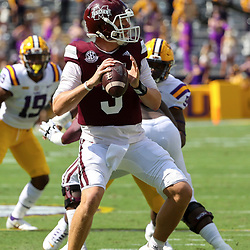 Sep 26, 2020; Baton Rouge, Louisiana, USA; Mississippi State Bulldogs quarterback K.J. Costello (3) against the LSU Tigers during the first half at Tiger Stadium. Mandatory Credit: Derick E. Hingle-USA TODAY Sports
