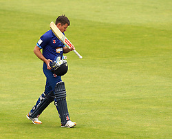 Gloucestershire's Geraint Jones walks off the pitch after being bowled by Durham's Ryan Pringle - Mandatory by-line: Robbie Stephenson/JMP - 07966386802 - 04/08/2015 - SPORT - CRICKET - Bristol,England - County Ground - Gloucestershire v Durham - Royal London One-Day Cup
