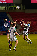 Sale Sharks wing Byron McGuigan and Newcastle Falcons wing Mateo Carreras compete for a high ball during a Gallagher Premiership Round 12 Rugby Union match, Friday, Mar 05, 2021, in Eccles, United Kingdom. (Steve Flynn/Image of Sport)