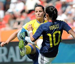 28.06.2011, BayArena, Leverkusen, GER, FIFA Women Worldcup 2011, Gruppe C, Kolumbien (COL) vs. Schweden (SWE), im Bild Jessica LANDSTROM ( #8 SWE ) gegen Jessica LANDSTROM ( #8 SWE )..// during the FIFA Women¥s Worldcup 2011, Pool C, Colombia vs. Sweden on 2011/06/28, BayArena, Leverkusen, Germany.       ****** out of GER / CRO  / BEL ******
