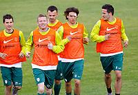 Fotball<br /> Trening Slovenia<br /> 26.05.2010<br /> Bruneck Italia<br /> Foto: Gepa/Digitalsport<br /> NORWAY ONLY<br /> <br /> FIFA Weltmeisterschaft 2010 in Suedafrika, Vorberichte, Vorbereitung Nationalteam Slowenien, Trainingslager. <br /> <br /> Bild zeigt Dalibor Stevanovic, Matej Mavric, Suad Filekocic, Rene Krhin Rene und Zlatan Ljubijankic (SLO).