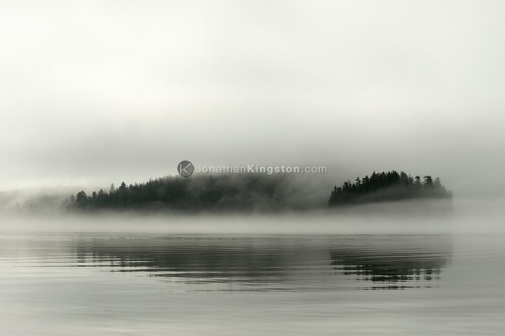 Islands in the fog near Petersburg, Alaska.