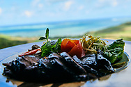Mauritius Island. A bistec with vegetables at restaurant