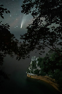 The Comet NEOWISE makes an appearance over Lake Superior and Miner's Castle.<br /> Pictured Rocks National Lakeshore.