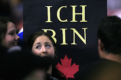 """Fans of Canada say in German """"I am Canada"""" at ice-hockey game Canada vs Germany in Qualifying Round Group F, at IIHF WC 2008 in Halifax,  on May 10, 2008 in Metro Center, Halifax, Nova Scotia,Canada. Canada won 11:1. (Photo by Vid Ponikvar / Sportal Images)"""