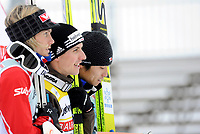 Bjoern Einar Romoeren (NOR) Sieger Simon Ammann (SUI) und Daiki Ito (JPN) auf dem Podest. © Valeriano Di Domenico/EQ Images