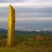 """MONGOLIA. 2700+ year-old, bronze age Deer Stone at Ushkin Uver (""""Lung Mountain"""") site near Muren, in Hovgol Aimag (province). <br />   <br /> MS0702_060629_0252.NEF"""