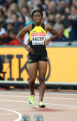 London, August 08 2017 . Simone Facey, Jamaica, in the women's 200m heats on day five of the IAAF London 2017 world Championships at the London Stadium. © Paul Davey.