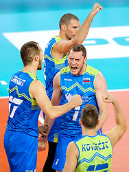 Players of Slovenia celebrate during volleyball match between National teams of Slovenia and Poland in semifinal of 2019 CEV Volleyball Men's European Championship in Ljubljana, on September 26, 2019 in Arena Stozice. Ljubljana, Slovenia. Photo by Matic Klansek Velej / Sportida