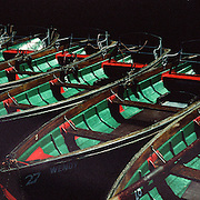 A line of rowing boats on the water at Knaresborough, North Yorkshire, England. UK. 23rd July 2011. Photo Tim Clayton