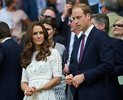 02.07.2014, All England Lawn Tennis Club, London, ENG, ATP Tour, Wimbledon, im Bild Catherine Middleton and William Windsor (Duke and Dutchess of Cambridge) during the Gentlemen's Singles Quarter-Final match on day nine // during the Wimbledon Championships at the All England Lawn Tennis Club in London, Great Britain on 2014/07/02. EXPA Pictures © 2014, PhotoCredit: EXPA/ Propagandaphoto/ David Rawcliffe<br /> <br /> *****ATTENTION - OUT of ENG, GBR*****