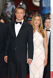 Hollywood glamour couple actor Brad Pitt and his wife actress Jennifer Aniston pictured arriving at the screening of Wolfgang Petersen's film 'Troy' presented out of competition at the 57th Cannes Film Festival in Cannes-France on Thursday, May 13, 2004. Photo by Hahn-Nebinger-Gorassini/ABACA.  | 60044_01