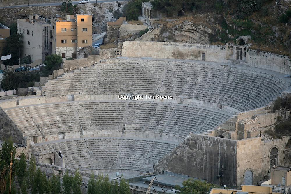The colisseum in Amman, Jordan is an old Roman icon.