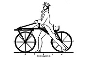 The Draisine [Early pedal-less bicycle] from The American bicycler: a manual for the observer, the learner, and the expert by Pratt, Charles E. (Charles Eadward), 1845-1898. Publication date 1879. Publisher Boston, Houghton, Osgood and company