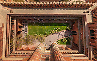 Aerial view above of Agra Fort, India