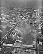 ackroyd 10742-2  looking south at construction of Minnesota Freeway. Inner N. Portland area. January 30, 1962 N. Vancouver and N. Weidler Bridges.