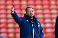 Ben Garner manager of Bristol Rovers gestures during the The FA Cup match between Walsall and Bristol Rovers at the Banks's Stadium, Walsall, England on 7 November 2020.