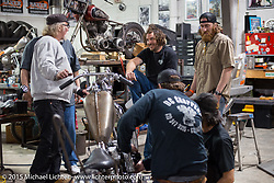 "Bill Dodge's ""Blings Cycles"" custom shop is a great place for friends to meet up and work on their bikes after a long day at Daytona Beach Bike Week 2015. FL, USA. Monday March 9, 2015.  Photography ©2015 Michael Lichter."