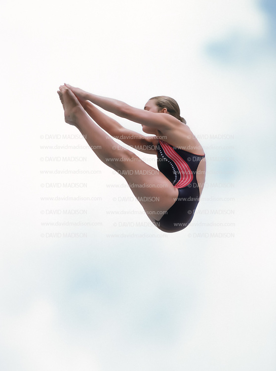 CARACAS, VENEZUELA - AUGUST 1983:  Wendy Wyland of the United States dives in the 1983 Pan Am Games in Caracas, Venezuela; Wyland was the gold medalist in 10 meter platform and silver medalist in the 3 meter springboard events.  (Photo by David Madison/Getty Images)