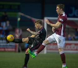 Arbroath's Ricky Little and Stenhousemuir's Mark McGuigan. Stenhousemuir 1 v 4 Arbroath, Scottish Football League Division One play12/1/2019 at Ochilview Park.