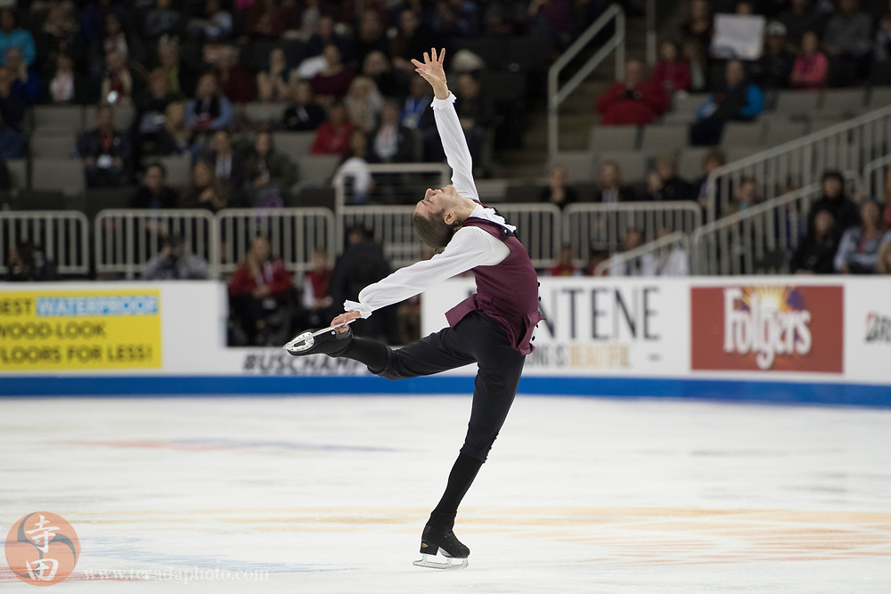 January 4, 2018; San Jose, CA, USA; Jason Brown in the mens short program during the 2018 U.S. Figure Skating Championships at SAP Center.
