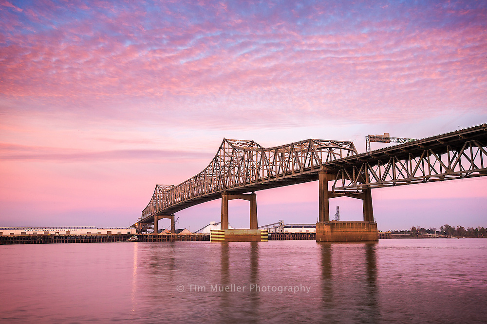 The I-10 Mississippi River bridge and the docks of the Port of Greater Baton Rouge as seen from the Baton Rouge side of the river.
