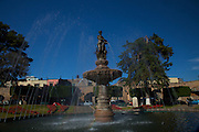 Fountain located in the park at Plaza Villalongin in Morelia, Mexico. The city is a UNESCO World Heritage Site and hosts on of the best preserved collection of Spanish Colonial architecture in the world.