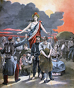 Allegorical representation of the unity of the workers of France.  From 'Le Petit Journal', Paris, April 1893.  Patriotism, Soldier, Fireman, Sailor, Teacher, Miner, Smith, Spinner, Farmer