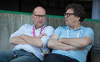 DEN HAAG -WORLD CUP Hockey 2014. John van Vliet met Arjen Rahusen.  COPYRIGHT  KOEN SUYK