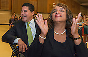 Houston ISD Superintendent Richard Carranza and Trustee Rhonda Skillern-Jones react to a performance during a stop of the Listen & Learn tour at Black Middle School, September 20, 2016.