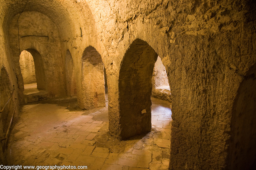 Tunnels and passages excavated in rock at mine of Moorish King, Casa del Roy Moro, Ronda, Spain