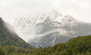 A panoramic view of Mount Sheerdown on an overcast day, taken from Milford Sound Lodge, Milford Sound (Piopiotahi), Fiordland National Park, New Zealand