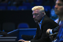 November 15, 2017 - London, England, United Kingdom - Boris Becker watches on during the singles match between Pablo Carreno Busta of Spain and Dominic Thiem of Austria on day four of the 2017 Nitto ATP World Tour Finals at O2 Arena on November 15, 2017 in London, England. (Credit Image: © Alberto Pezzali/NurPhoto via ZUMA Press)