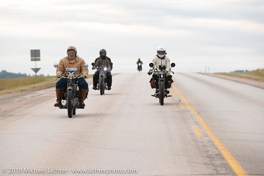 Frank Westfall, Andrea Labarbara and Loring Hill riding their Hendersons on the Motorcycle Cannonball coast to coast vintage run. Stage 10 (299 miles) from Sturgis, SD to Billings, MT. Tuesday September 18, 2018. Photography ©2018 Michael Lichter.