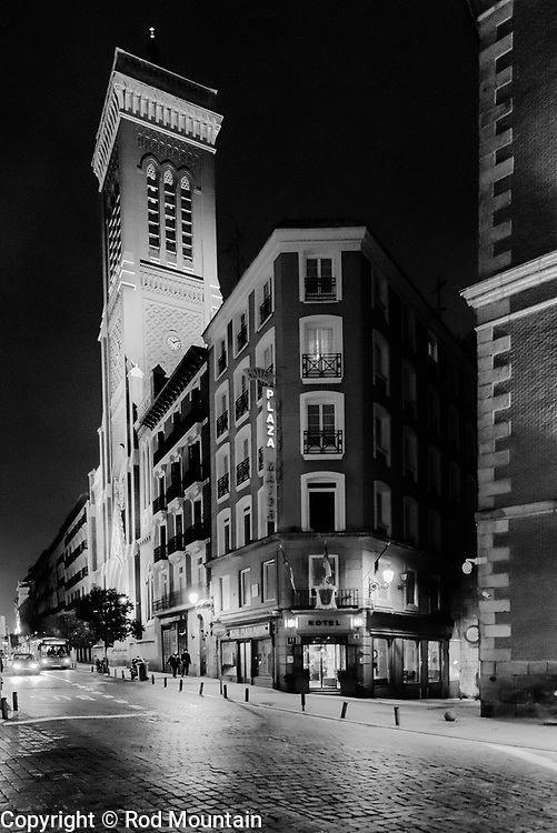 Madrid, Spain - February 15, 2018 - Night-time image taken just outside Hotel Plaza Mayor. Madrid is a great city for exploring both day & night!<br /> <br /> Image: © Rod Mountain http://www.rodmountain.com http://bit.ly/RM-archive<br /> <br /> Nikon D800 / Nikkor Lens #NikonCA #NikonNoFilter #NikonEurope<br /> <br /> @spain @visita_madrid @NikonUSA @nikoncanada @nikoneurope<br /> <br /> @spain.info @visitamadridoficial @NikonUSA @nikoncanada @nikoneurope<br /> <br /> @spain @Visita_Madrid @NikonUSA @nikoncanada @nikoneurope @TurismoMadrid<br /> <br /> https://en.wikipedia.org/wiki/Madrid<br /> https://www.spain.info/en/<br /> https://www.h-plazamayor.com<br /> <br /> #Spain #TourismSpain #VisitSpain #VisitMadrid #timeless_streets #streetphotographyworldwide #streetsgrammer <br /> <br /> #capturestreets #life_is_street #nightwalkermagazine #IamATraveler #exploretocreate #journey #ontheroad #monochrome #blackandwhiteonly #bnw_street <br /> <br /> #streetscene #stayandwander #Hotel #Night #NightPhotography #NightShooterz #travelersnotebook #walkabout #Madrid #bw