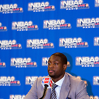 9 October 2008: Dwyane Wade of the Miami Heat is seen during the press conference following the New Jersey Nets 100-98 overtime victory over the Miami Heat in an exhibition game at Bercy Arena, in Paris, France.