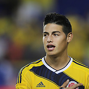 James Rodríguez, Columbia, singing the National Anthem during the Columbia Vs Canada friendly international football match at Red Bull Arena, Harrison, New Jersey. USA. 14th October 2014. Photo Tim Clayton
