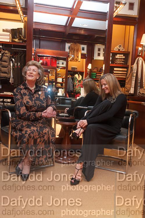LADY PAMELA HICKS; INDIA HICKS;, Book launch for ' Daughter of Empire - Life as a Mountbatten' by Lady Pamela Hicks. Ralph Lauren, 1 New Bond St. London. 12 November 2012.