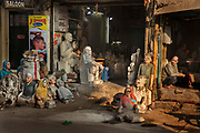 The hand sculpted famous Indians and Hindu gods for sale outside a statue makers shop on 14th January 2018 on the streets of Old Delhi, India.
