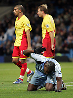 Photo: Paul Thomas.<br /> Manchester City v Watford. The Barclays Premiership. 04/12/2006.<br /> <br /> Micah Richards of Man City slaps the ground in anger after his great chance to score is saved.