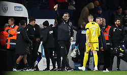 Derby County manager Frank Lampard gestures to the away fans after the Sky Bet Championship match at The Hawthorns, West Bromwich.