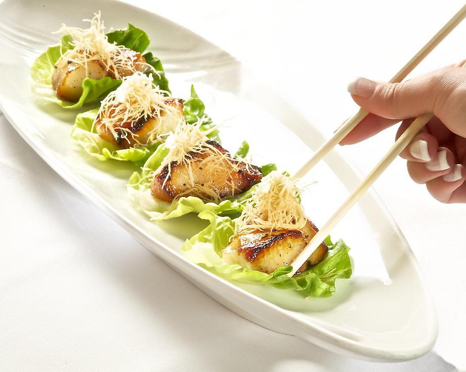 Miso Black Cod Lettuce Cup <br /> Butter Greens, Kataifi Crisps, Yuzu Creme Fraiche