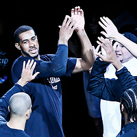 01 May 2017: San Antonio Spurs forward LaMarcus Aldridge (12) is seen during the players introduction prior to the Houston Rockets 126-99 victory over the San Antonio Spurs, in game 1 of the Western Conference Semi Finals, at the AT&T Center, San Antonio, Texas, USA.