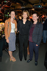 Left to right, LAURA HINTON-HARPER (caravan restaurants) LUCY HELLER (of ARK Central) and ROSIE PYE (of ARK Franklin) at Fork to Fork - a Fundraising Feast to support The Open Air Classroom Project held at The Dock Kitchen, Portobello Docks, 342-344 Ladbroke Grove, London on 19th May 2015.