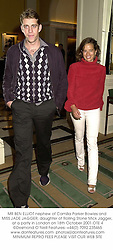 MR BEN ELLIOT nephew of Camilla Parker Bowles and MISS JADE JAGGER, daughter of Rolling Stone Mick Jagger, at a party in London on 18th October 2001.OTE 4